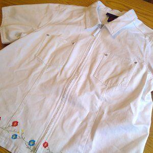 Denim & Co EUC Zip Up Short Sleeve Jean Jacket